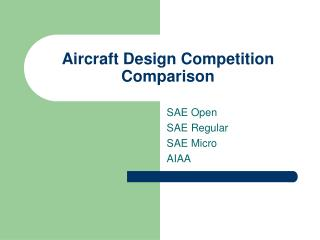 Aircraft Design Competition Comparison
