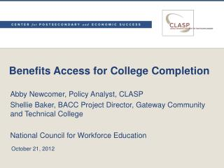 Benefits Access for College Completion