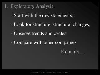1.  Exploratory Analysis
