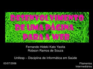 Fernando Hideki Kato Yaoita Robson Ramos de Souza Unifesp – Disciplina de Informática em Saúde