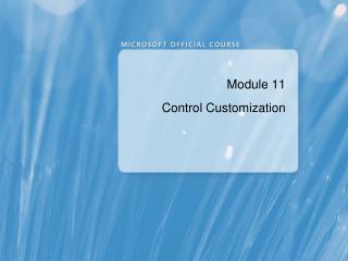 Module 11 Control Customization