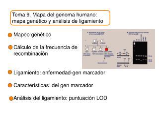 Tema 9. Mapa del genoma humano: mapa gen ético y análisis de ligamiento