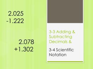 3-3 Adding & Subtracting Decimals &