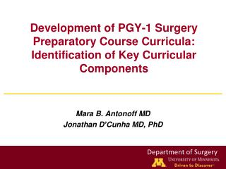 Mara B. Antonoff MD Jonathan  D' Cunha  MD, PhD