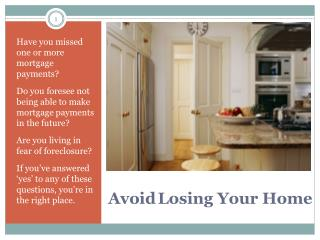 Avoid Losing Your Home