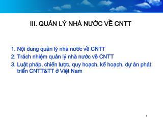 III. QUN L  NH  NUC V CNTT