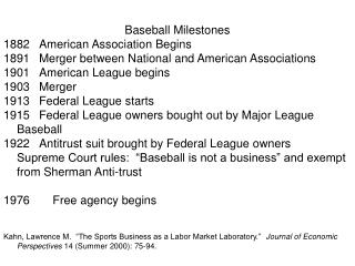Baseball Milestones 1882	American Association Begins