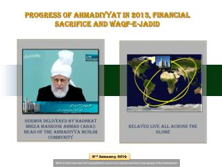 Progress  of Ahmadiyyat in 2013, Financial Sacrifice and Waqf-e- Jadid