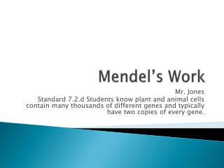 Mendel�s Work