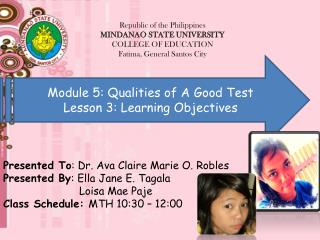 Module 5: Qualities of A Good Test Lesson 3: Learning Objectives
