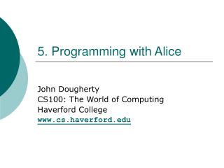 5. Programming with Alice