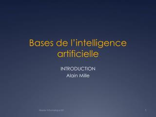 Bases de l intelligence artificielle