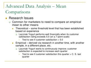 Advanced Data Analysis – Mean Comparisons