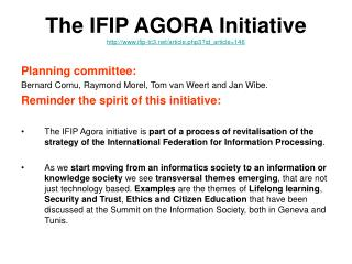 The IFIP AGORA Initiative ifip-tc3/article.php3?id_article=146