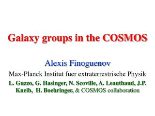 Galaxy groups in the COSMOS