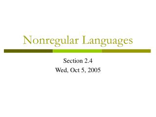 Nonregular Languages