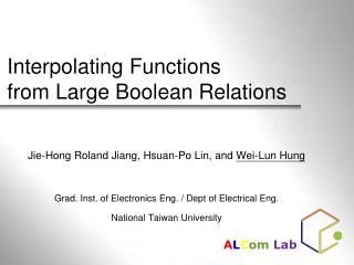 Interpolating Functions  from Large Boolean Relations