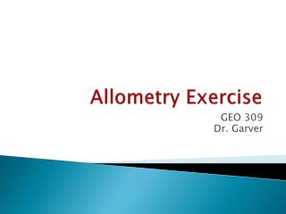 Allometry  Exercise