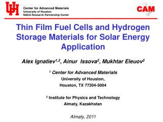 Thin Film Fuel Cells and Hydrogen Storage Materials for Solar Energy Application