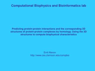 Computational Biophysics and Bioinformatics lab