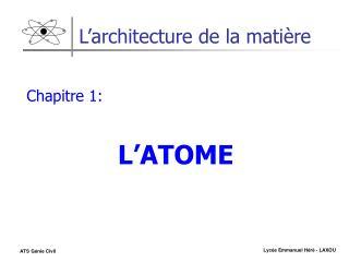 L'architecture de la matière