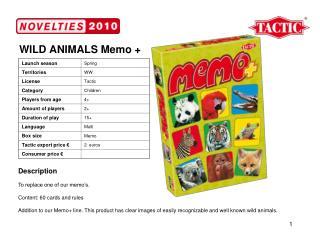 WILD ANIMALS Memo +