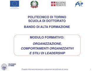 POLITECNICO  DI  TORINO SCUOLA  DI  DOTTORATO BANDO  DI  ALTA FORMAZIONE
