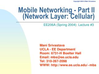 Mobile Networking - Part II (Network Layer: Cellular)