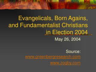 Evangelicals, Born Agains, and Fundamentalist Christians in Election 2004