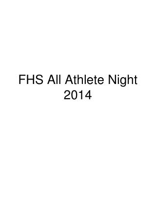 FHS All Athlete Night  2014