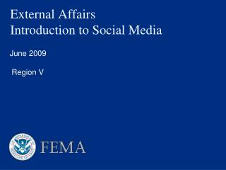External Affairs Introduction to Social Media