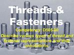 Threads  Fasteners