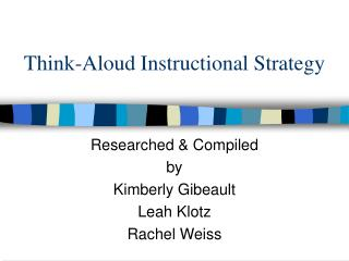Think-Aloud Instructional Strategy