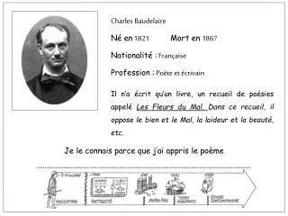 Charles Baudelaire Né en 1821 Mort en 1867 Nationalité : Française Profession : Poète et écrivain