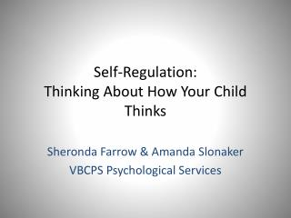 Self-Regulation:  Thinking About How Your Child Thinks