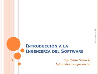 Introducción a la Ingeniería del Software