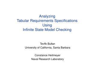 Analyzing  Tabular Requirements Specifications  Using  Infinite State Model Checking