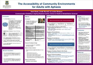 The Accessibility of Community Environments for Adults with Aphasia