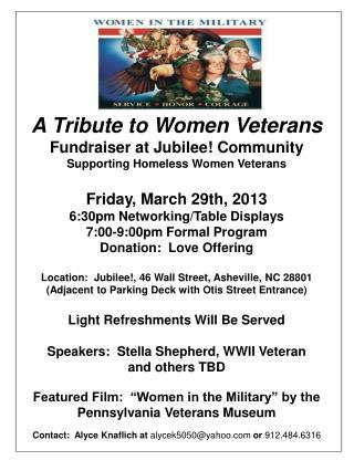 A Tribute to Women Veterans Fundraiser at Jubilee! Community Supporting Homeless Women Veterans