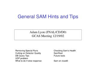 General SAM Hints and Tips