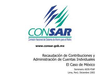 Recaudaci�n de Contribuciones y Administraci�n de Cuentas Indviduales  El Caso de M�xico