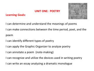 UNIT ONE:  POETRY  Learning  Goals: I can determine and understand the meanings of poems