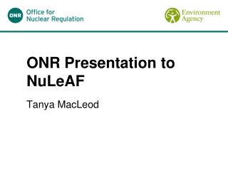 ONR Presentation to NuLeAF