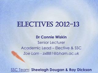 Electives 2012-13