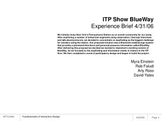 ITP Show BlueWay Experience Brief 4/31/06