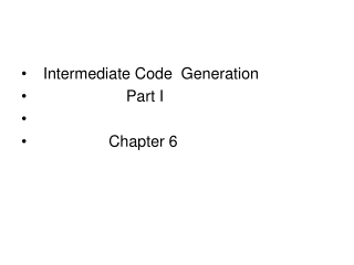 Intermediate Code Generation