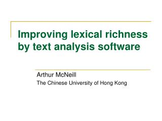 Improving lexical richness by text analysis software