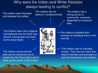Why were the Indian and White lifestyles always leading to conflict?