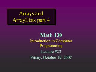 Arrays and ArrayLists part 4