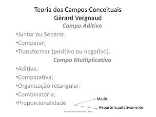 Teoria dos Campos Conceituais G rard Vergnaud